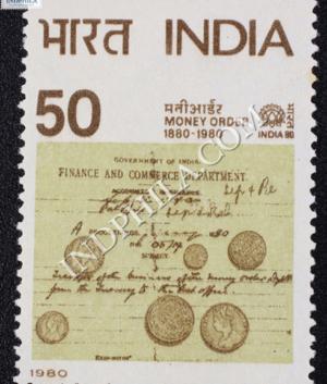 INDIA 80 MONEY ORDER COMMEMORATIVE STAMP