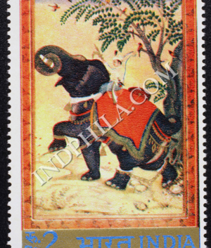 INDIAN MINIATURE PAINTINGS TAMING OF ELEPHANT COMMEMORATIVE STAMP