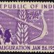 REPUBLIC OF INDIA INAUGURATION JAN 26 1950 CORN AND PLOUGH COMMEMORATIVE STAMP