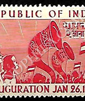 REPUBLIC OF INDIA INAUGURATION JAN 26 1950 REJOICING CROWDS COMMEMORATIVE STAMP