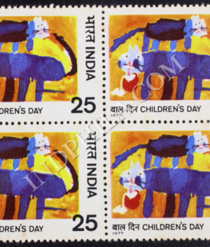 CHILDRENS DAY CATS BLOCK OF 4 INDIA COMMEMORATIVE STAMP