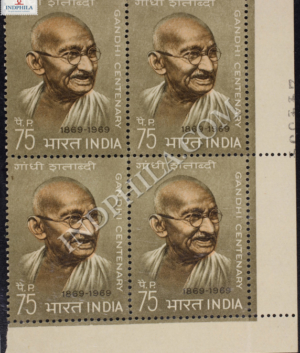 GANDHI CENTENARY 1869 1969 S2 BLOCK OF 4 INDIA COMMEMORATIVE STAMP