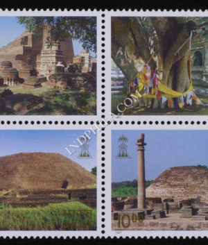 INDIA 1997 BUDDHIST CULTURE SERIES MNH SETENANT BLOCK