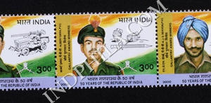 INDIA 2000 GALLANTRY AWARDS MNH SETENANT STRIP