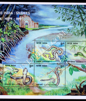 INDIA 2003 NATURE INDIA SNAKES PYTHON PIT VIPER KING COBRA GLIDING SNAKE MNH MINIATURE SHEET