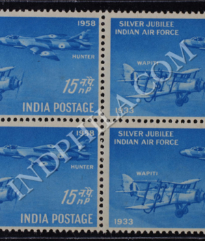INDIAN AIR FORCE SILVER JUBILEE S1 BLOCK OF 4 INDIA COMMEMORATIVE STAMP