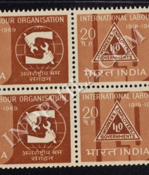 INTERNATIONAL LABOUR ORGANISATION 1969 BLOCK OF 4 INDIA COMMEMORATIVE STAMP