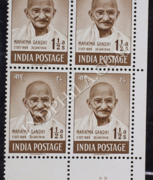 MAHATMA GANDHI 2 OCT 1869 30 JAN 1948 S1 BLOCK OF 4 INDIA COMMEMORATIVE STAMP