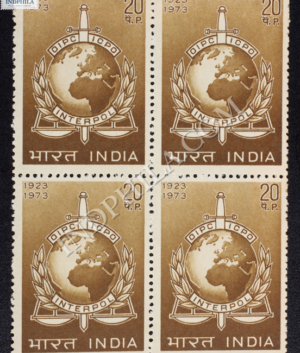 OIPC ICPO INTERPOL 1923 1973 BLOCK OF 4 INDIA COMMEMORATIVE STAMP