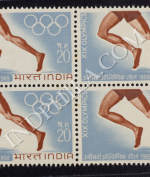 XIX OLYMPICS BLOCK OF 4 S1 INDIA COMMEMORATIVE STAMP