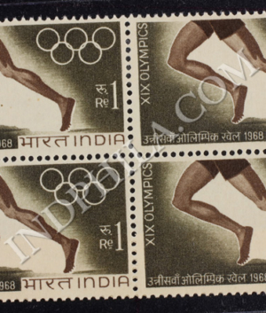 XIX OLYMPICS BLOCK OF 4 S2 INDIA COMMEMORATIVE STAMP