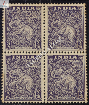 INDIA 1949 AJANTA CAVE PANEL SLATE VIOLET MNH BLOCK OF 4 DEFINITIVE STAMP
