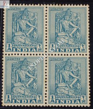 INDIA 1949 BODHISATTVA DIE I TURQUOIS MNH BLOCK OF 4 DEFINITIVE STAMP