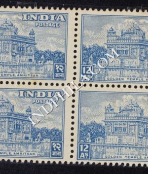 INDIA 1949 GOLDEN TEMPLE AMRITSAR DULL BLUE MNH BLOCK OF 4 DEFINITIVE STAMP