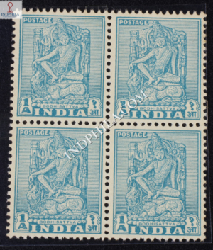 INDIA 1950 LUCKNOW MUSEUM BODHISATTVA DIE II TURQUOIS MNH BLOCK OF 4 DEFINITIVE STAMP