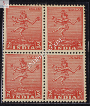 INDIA 1951 NATARAJA THIRUVELANGADU CARAMINE MNH BLOCK OF 4 DEFINITIVE STAMP