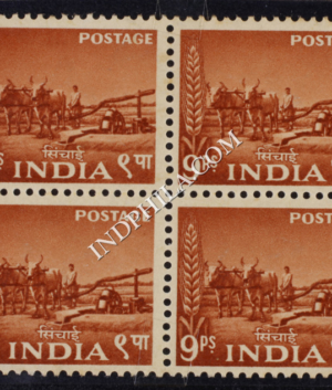 INDIA 1955 BULLOCK DRIVEN WELL ORANGE BROWN MNH BLOCK OF 4 DEFINITIVE STAMP