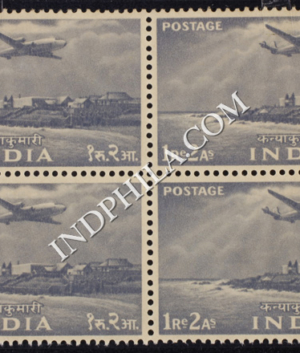INDIA 1955 CAPE COMORIN GREY MNH BLOCK OF 4 DEFINITIVE STAMP