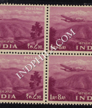 INDIA 1955 KANCHENJUNGA REDDISH PURPLE MNH BLOCK OF 4 DEFINITIVE STAMP