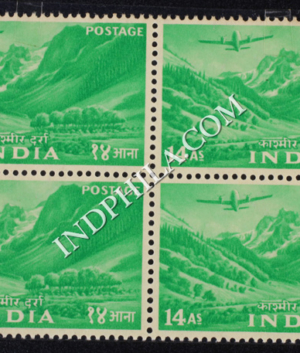 INDIA 1955 KASHMIR BRUGHT GREEN MNH BLOCK OF 4 DEFINITIVE STAMP