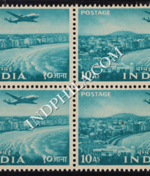 INDIA 1955 MARINE DRIVE TURQUOIS GREEN MNH BLOCK OF 4 DEFINITIVE STAMP