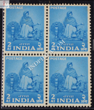 INDIA 1955 WOMAN SPINNING LIGHT BLUE MNH BLOCK OF 4 DEFINITIVE STAMP