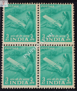 INDIA 1955 WOMAN WEAVING PALE BLUE GREEN MNH BLOCK OF 4 DEFINITIVE STAMP