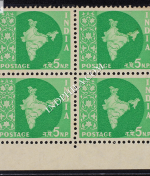 INDIA 1957 MAP OF INDIA BRIGHT GREEN MNH BLOCK OF 4 DEFINITIVE STAMP