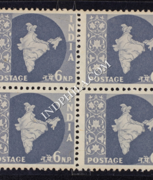 INDIA 1957 MAP OF INDIA GREY MNH BLOCK OF 4 DEFINITIVE STAMP