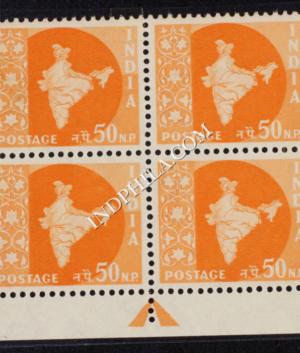 INDIA 1957 MAP OF INDIA ORANGE MNH BLOCK OF 4 DEFINITIVE STAMP
