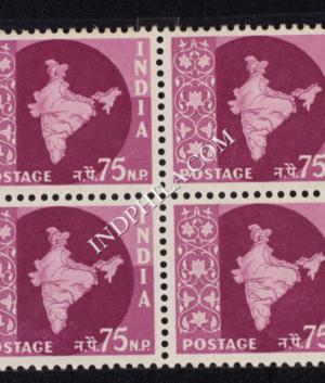 INDIA 1957 MAP OF INDIA REDDISH PURPLE MNH BLOCK OF 4 DEFINITIVE STAMP