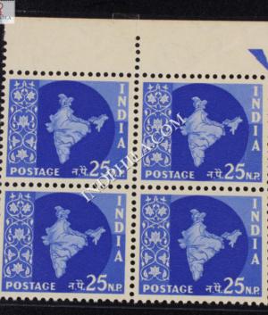 INDIA 1957 MAP OF INDIA ULTRAMARINE MNH BLOCK OF 4 DEFINITIVE STAMP