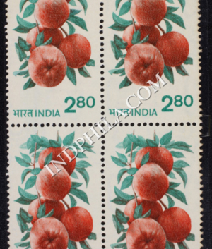 INDIA 1980 APPLES RED AND BLUE GREEN MNH BLOCK OF 4 DEFINITIVE STAMP