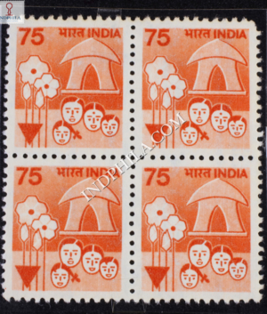 INDIA 1990 FAMILY PLANNING ORANGE AND VERMILION MNH BLOCK OF 4 DEFINITIVE STAMP