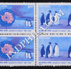 INDIA 1991 ANTARCTIC TREATY MNH SETENANT BLOCK OF 4 STAMP