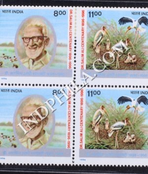 INDIA 1996 DR SALIM ALI MNH SETENANT BLOCK OF 4 STAMP