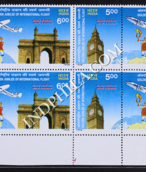 INDIA 1998 AIR INDIA MNH SETENANT BLOCK OF 4 STAMP