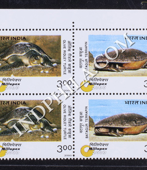 INDIA 2000 TURTLES MNH SETENANT BLOCK OF 4 STAMP